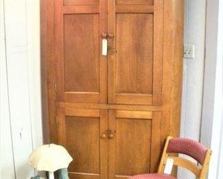 1860's solid 1 piece Walnut Wood Corner Cabinet...a true work of craftsmanship.