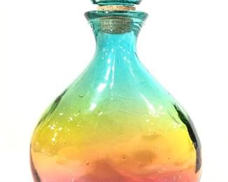 Decorative Art Glass Decanter W Stopper