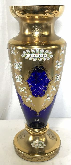 Bohemian Colt Bolt & Gilt Glass Urn Vase