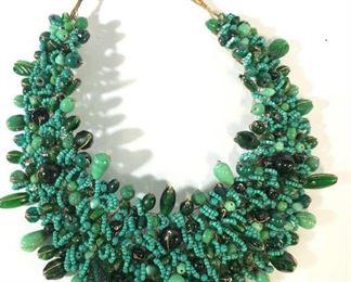 Handmade Artisanal Glass Bead Collar Necklace