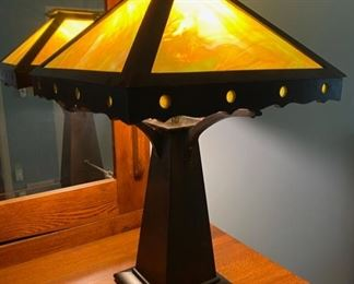 ca. 1900's Mission Style wood slag glass lamp