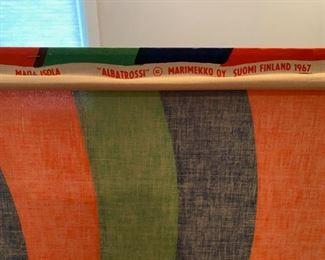 "Very large 1967 Marimekko Oy Suomi ""Albatrossi"" screen print textile on wood frame.  48"" x 48"""