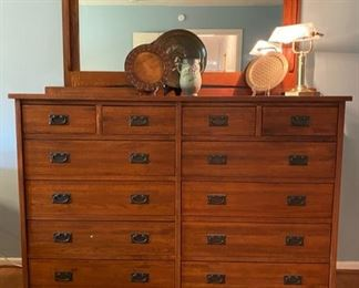 Mission style double chest of drawers with mirror