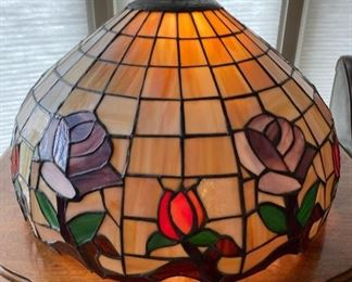 "Very large antique leaded slag glass hanging light fixture.  20 1/2"" diameter"
