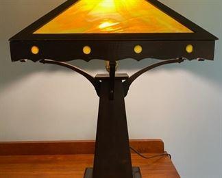 ca. 1900's Mission Style wood slag glass lamp