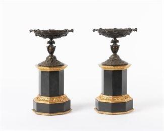 5: 19th c. Slate & Bronze Tazza Mantel Garnitures, Pair