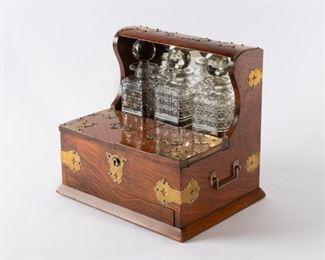 3: Edwardian Mirrored Walnut Game Tantalus w Cigar Storage