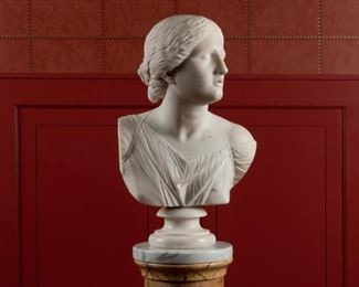 6: Classical White Marble Bust of Artemis
