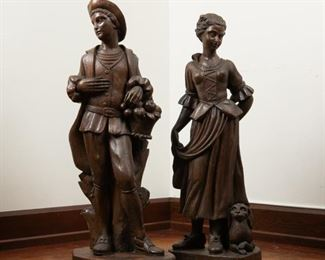8: 19th c. French Carved Wood Figures, Pair