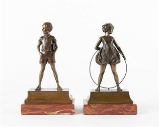10: Ferdinand Preiss Bronzes, 'Hoop Girl' & 'Sonny Boy'