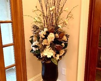 """$800 PAIR - Large & Luxurious! Black and Gold Urn with Floral Arrangement. The urn measures 16"""" diameter x 32"""" tall and with the floral measures 74"""" tall."""