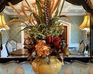 """$200 - Beautiful Large Floral Arrangement in Yellow/Gold Ceramic Urn. Urn measures 11"""" diameter x 11"""" tall and urn with floral measures 48"""" tall."""