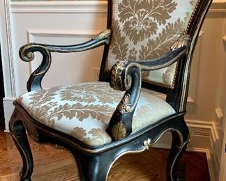 Close up of custom upholstered armchair