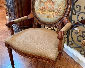 """$450 - Luxurious armchair with chinoiserie scene. Measures 27"""" x 22"""" x 42""""."""