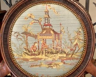 Close up of Luxurious armchair with chinoiserie scene