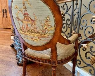 Back view of luxurious chinoiserie armchair