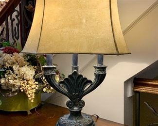"""$100 - Elegant foyer lamp with faux leather shade. The shade measures 17"""" x 11"""" and the lamp measures 26"""" tall."""