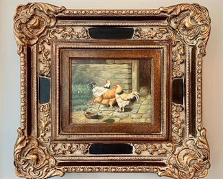 """$200 - Original Oil Painting by C. Swanson in Ornate Frame. Art measures 9"""" x 7"""" and with frame measures 20"""" x 18""""."""