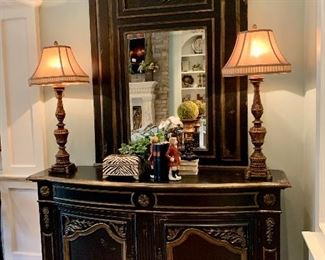 """$1500 - BEAUTIFUL Distressed Console by Habersham. Measures 64"""" x 18"""" x 38"""". Originally purchased for $4500."""
