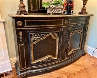Close up of Distressed Console by Habersham.