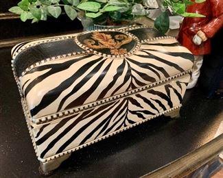 "$28 - CHIC Zebra Print Box by Shubert Design. Measures 9"" x 5"" x 4.5""."