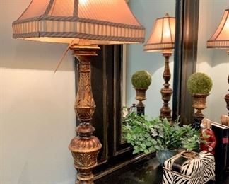 """$200 (PAIR) - Decorative Buffet Lamps. Measures 14"""" wide x 36"""" tall."""