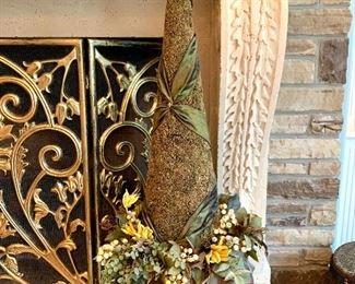 Close up of unique floral arrangement in planter.