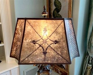 Close up of lamp shade on Ornate Fine Arts Floor Lamp.