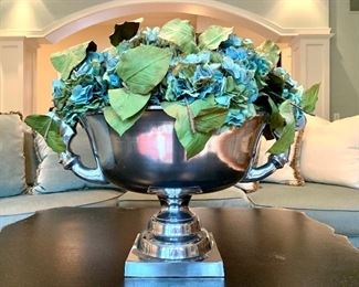 """$200 - Luxurious statement centerpiece with faux hydrangeas in silver pot. Measures 24"""" diameter x 18"""" tall."""