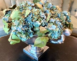 Alternate view of statement centerpiece with faux hydrangeas in silver pot.