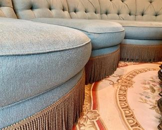 Close Up of Blue Tufted-Back Sectional Sofa by Henredon