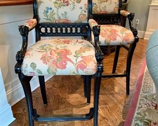 "$1500 (PAIR) - DESIGNER Ferguson Copeland Thomas Hope Bar Stools with Lion-head Armrests. Measures 20"" x 28"" x 47""."