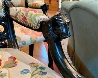 Close up of Lion-head Armrests on Ferguson Copeland Thomas Hope Barstool PAIR.