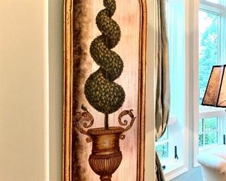 """$550 (PAIR) - Ornate Topiary Pictures. Measures 21"""" wide x 69"""" tall."""