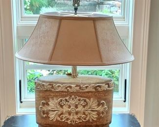 "$150 - Unique Decorative Table Lamp. Measures 21"" wide x 26"" tall."