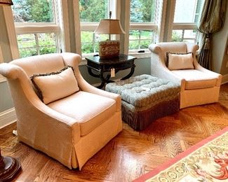 """$800 (PAIR) - Luxurious Cream-Colored Club Chairs by Henredon with Decorative Pillows. Club chairs measure 31"""" x 38"""" x 34""""."""