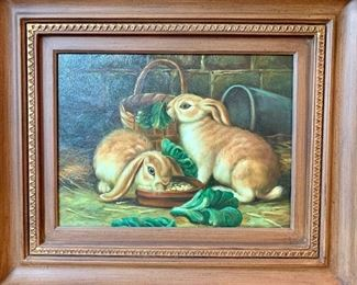 """$250-Original oil painting of bunnies. C.O.A. on back. The frame measures 26 x 22.  The art is 15"""" x 11 1/2"""""""