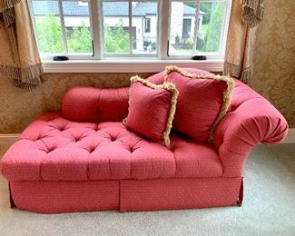 """$550 - Custom Red Upholstered Chaise with 2 Pillows. Measures 70"""" x 34"""" x 30"""". Originally purchased for $1800."""
