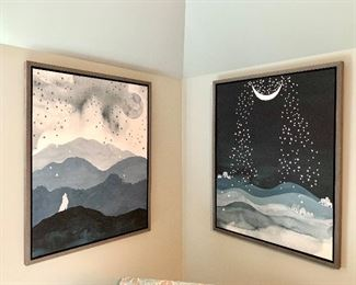 """$150 EACH - Moonlit Wolf Art from Restoration Hardware (Left) and Moonlit Star Art from Restoration Hardware (Right). Each measures 28"""" x 36""""."""