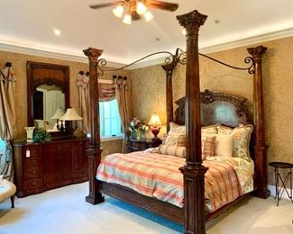 """$3000 - King Four Poster Bed by Henredon with Tempurpedic Mattress Included. Measures 97"""" x 92"""" x 105""""."""