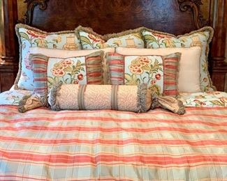 $550 - CUSTOM King Bedding Set includes: 1 Duvet Cover with Insert, 3 Euro Shams, 2 King Shams, 3 Decorative Pillows, and 1 Bolster Pillow.