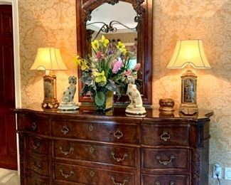 """$2000 - LUXURY Dresser with Brass Hardware by Henredon. Measures 85"""" x 24"""" x 42"""". Originally purchased for $6081."""