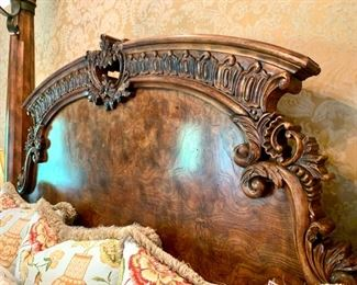 Close up of headboard on King Four Poster Bed by Henredon.