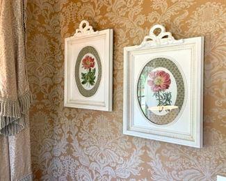 "$150 (PAIR) - Beautiful Framed Botanical Art. Measures 18"" x 26""."