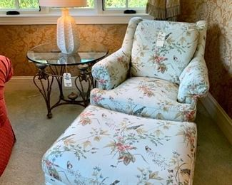 """$600 - Designer Club Chair by Henredon with Matching Ottoman. Chair measures 36"""" x 38"""" x 34"""" and ottoman measures 31"""" x 24"""" x 18"""". Originally purchased for $4594."""