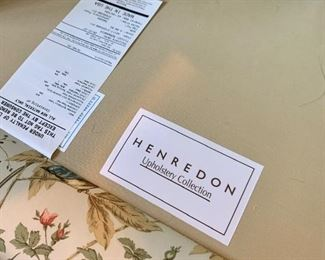 Close up of label on Club Chair with Ottoman by Henredon.