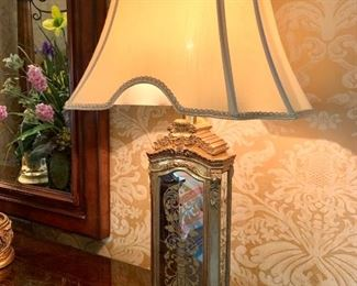 """$200 (PAIR) - BEAUTIFUL Golden Mirror Lamp. Lamp Shade measures 16"""" x 12"""" and lamp with shade measures 28"""" tall. Originally purchased for $750."""