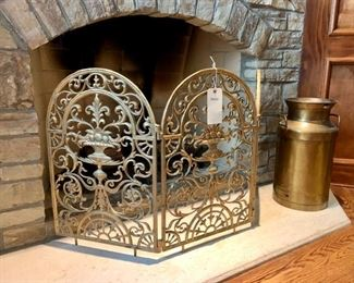 """$100 - Gold Decorative Fireplace Screen. Measures 48"""" x 25"""". Originally purchased for $325."""