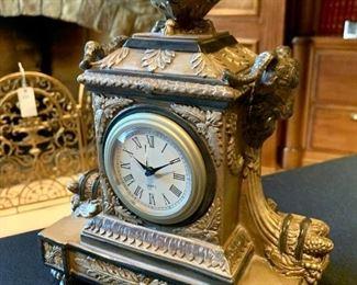"$48 - Decorative Desk Clock - Measures 8"" x 5"" x 11""."