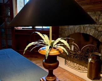 "$100 - Wooden Base with Metal Plant Desk Lamp. Shade measures 18.5"" diameter and lamp with shade measures 27"" tall."
